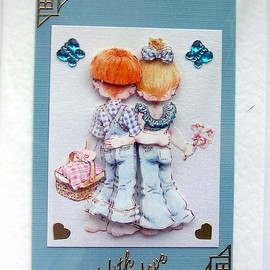 Luulla - Courting Couple Hand-Crafted 3D Decoupage Card - With Love (1465)