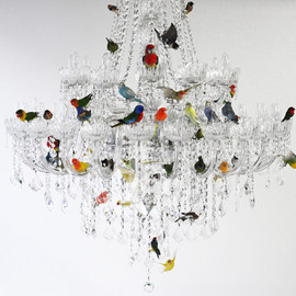 Sebastian Errazuriz - sebastian errazuriz perches taxidermied birds on a chandelier