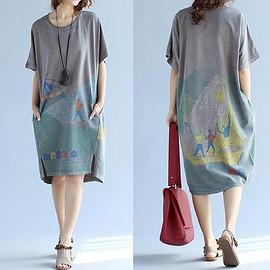 T-shirt dress - Yellow/ gray loose Asymmetrical dress large size Long T-shirt dress