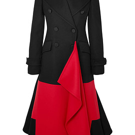 Alexander McQueen - FW2019 Asymmetric double-breasted two-tone wool and cashmere-blend coat