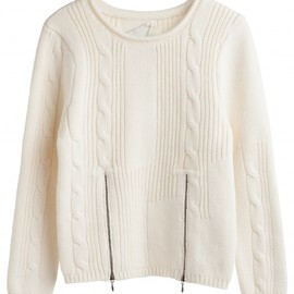 BACK - Cable knit zip sweater