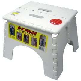 "B&R Plastics - 9"" x 11.5"" EZ Folds Folding Step Stool in White"
