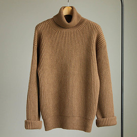 Graphpaper - Mongolian Baby Camel Turtle Neck Knit #camel