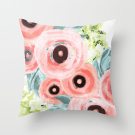 Allison Holdridge - Ranunculus, Hydrangeas, Succulents Throw Pillow
