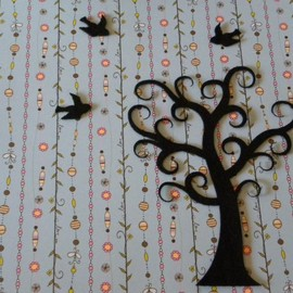 Luulla - Curly tree with 5 birds - felt