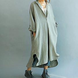 dress - Women Loose Fitting linen Long dress/ Asymmetric oversized loose linen dress