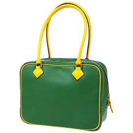 HERMES - PLUME - Green Yellow Leather Gold Evening Top Handle Satchel Bag