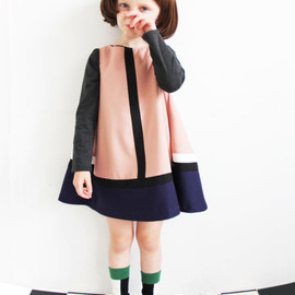 COMECHATTO&CLOSET - color block flared dress