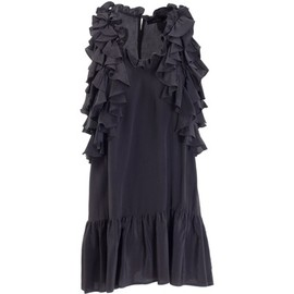 ISABEL MARANT - Black silk ruffle dress