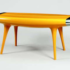 MARC NEWSON - 'EVENT HORIZON', A YELLOW PAINTED ALUMINUM TABLE