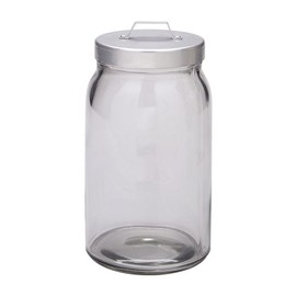 IKEA - BURKEN Jar with lid, clear glass, aluminium