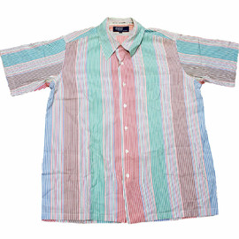 POLO RALPH LAUREN - Vintage 80s Polo by Ralph Lauren Striped Button Up Shirt Mens Size Large