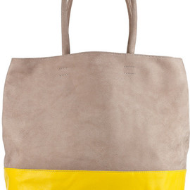 Newbark - taupe and bright yellow two tone leather tote