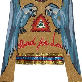 Gucci - Appliquéd sequin-embellished intarsia knitted sweater
