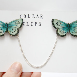 Ladybird Likes - Butterfly Wooden Collar Clips