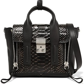 3.1 Phillip Lim - The Pashli mini matte and snake-effect leather trapeze bag