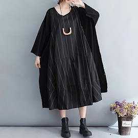 long denim dress - Cotton dress long, black oversized dress