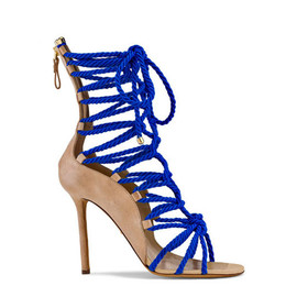 Sergio Rossi - Nude leather and blue silk wrap booties