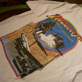 "Hanes - 「<used>80's Hanes ""Indiana Jones""T-SHIRT white""made in USA"" size:L 5800yen」完売"