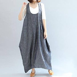 Suspender dress - Blue gray Cotton Suspender dress Loose sleeveless long dress