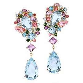 BRUMANI - diamonds, amethyst, blue topaz, green beryl and pink and green tourmaline in earrings