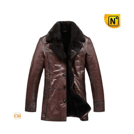 CWMALLS - Mens Sheepskin Leather Coat Fur Lined CW819466