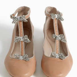 Chloé - Crystal-bow embellished ballerina flats