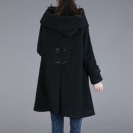 Womens Coat - Winter Coat,Wool Coat,Wool Coat Cloak In black, Wool Cape Cloak, Hooded Coat, Womens Coat