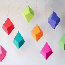 Set of 8 DIY Cut-and-Fold Paper Polyhedra Ornaments