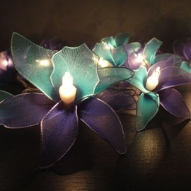 20 Pink-White-Purple Orchid Flower Fairy String Lights