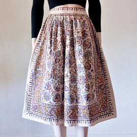 persephonevintage - ethnic print midi skirt / full / cotton / hippie / s / m