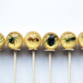 VintageConfections - Insects spiders flies centipedes Halloween edible images ball style hard candy lollipop - 6 pc. - MADE TO ORDER