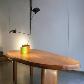 """Charlotte Perriand - """"Forme Libre"""" table (with Serge Mouille Triple lamp), Jousse gallery, Paris"""