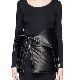 GIVENCHY - Leather puffer down corset belt