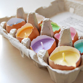 LessCandles - Easter Candles Real Eggshells Candles Set Of 10 Vegetable Wax Candles Eco-friendly