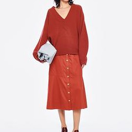 Tibi - Airy Extrafine Wool Sweater V-Neck  Pullover in Dusty Red