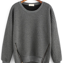 Romwe - Round Neck Zipper Grey Sweatshirt
