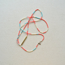ISWASANDWILLBE - rNA Strand Series- One of a Kind Necklace/Bracelet with Hand Cut Brass in Bold Palette