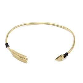chibi jewels - Brass Arrow Cuff Bracelet with Silk Thread Accent