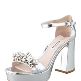 miu miu - Jeweled Metallic Sandal