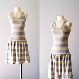 80s dress / striped sun dress / Tonal Stripe dress