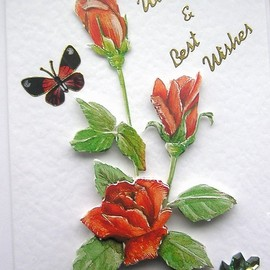 Luulla - Rose Hand-Crafted 3D Decoupage Card - With Love & Best Wishes (1439)