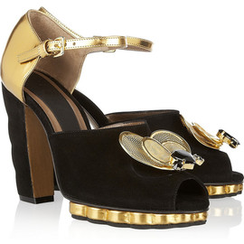 MARNI - Jewel bee-embellished metallic leather and suede sandals