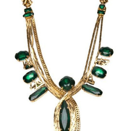 ERICKSON BEAMON - gold and emerald green necklace