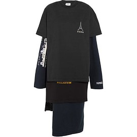 VETEMENTS - '' Paris '' layered printted t-shirts