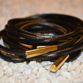 Yeezy Laces w/ Screw-On Tips - Black/Gold