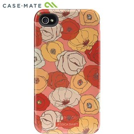 """case-mate - Case-Mate iPhone 4S / 4 Hybrid Tough Case, """"IMake My Case"""" Faded Florals / Poppies"""