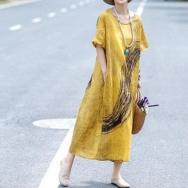dress - Yellow linen dress, maxi linen dress in green, short sleeved dress, Long dress, summer dress