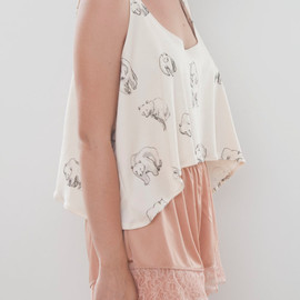 leahgoren - Draped Crop Tank // Bears Print