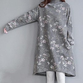 dress - Cotton high collar loose fitting Long dress Women bottoming dress in gray/ coffee color/ blue